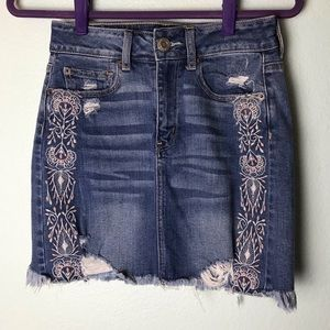 American Eagle Embroidered Distressed Denim Skirt